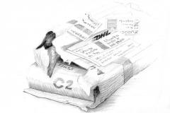 ausgepackt-1,  Bleistift, 28 x 32, 2020